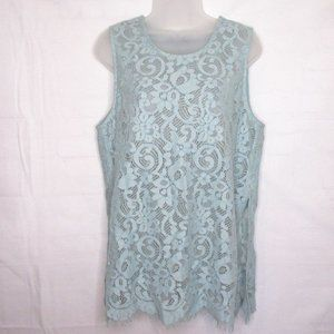 Karen Kane Blue Sheer Lace Sleeveless Top